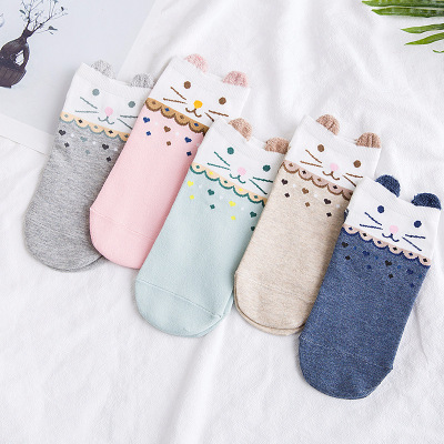 summer new product pure cotton stockings day is a sweet cartoon cat, direct contact socks manufacturers direct sale.
