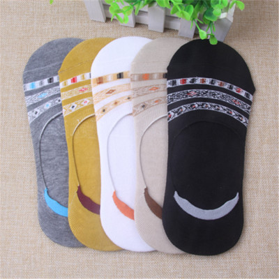 Hosiery striped invisible socks with silicone skid-resistant men's socks are breathable.