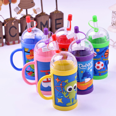 Lovely cartoon children straw water cup PVC environmental protection gift