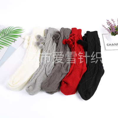 The factory sells the spot to supply the fashionable knitting wool thread to add thick socks female autumn winter