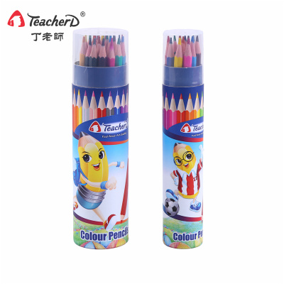 Teacher Ding's pencil  regular color pencil in bucket, colored lead painting pencil