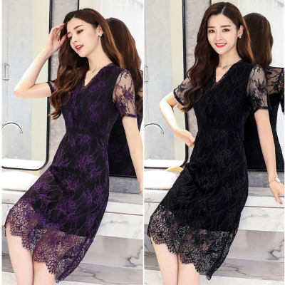 Lady in the elderly large size mother fitted with women's summer lace round neck dress