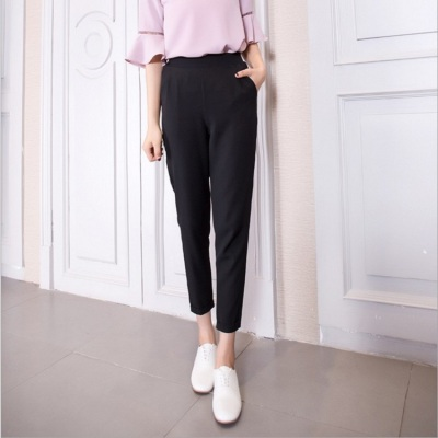 Harem pants spring and autumn new style Korean version loose 100 take 9 minutes suit chiffon leisure broad leg turnip