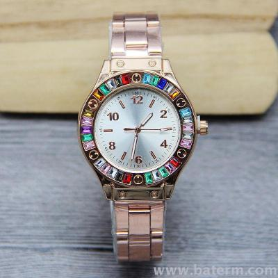 Fast selling hot style fashion selling personality color diamond digital steel band watches