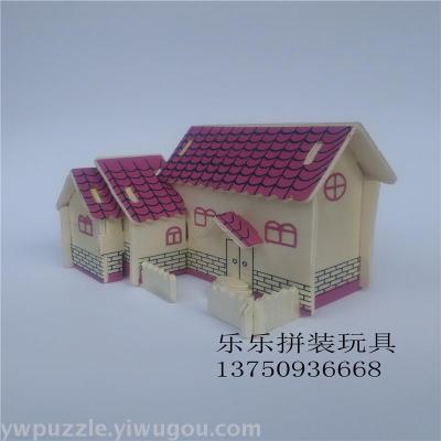 Wooden stereoscopic model puzzle house toy promotion gift gift