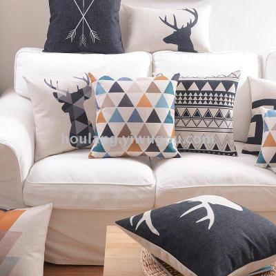 Nordic style geometric deer head pillow simple sofa cotton and linen cushion for leaning on design