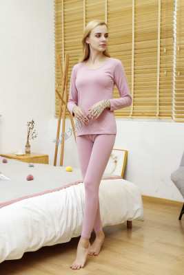 thermal underwear set solid color breathable autumn clothing long trousers women comfortable warm large circular collar
