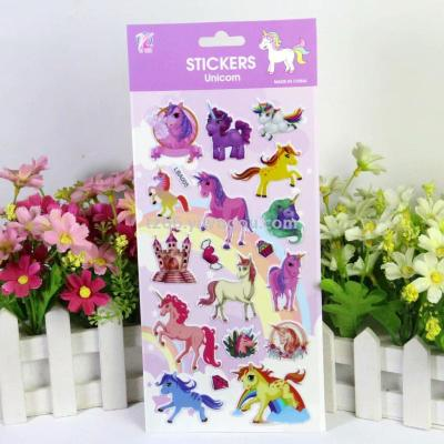 Unicorn children's cartoon bubble paste flamingo three-dimensional paste paper