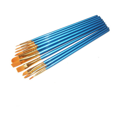 Ten pieces set oil painting brush with blue pen-holder Gouache paintbrush set