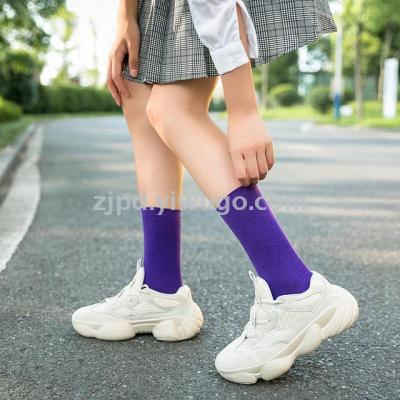 Autumn and winter socks wholesale women's socks Japanese and Korean cotton dui dui socks women's purple pure color comf