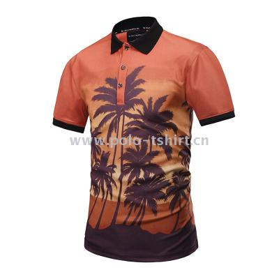 Summer New 3D Creative Coconut Forest Scenery Printing Polo Shirt Fashion Men'S POLO