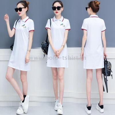 Women'S Slim T-Shirt Short-Sleeved Polo Shirt Long Bottoming Shirt Dress