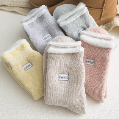 Embroidered wool socks warm socks with fleece thickened wool socks with chunky ladies socks wholesale in winter