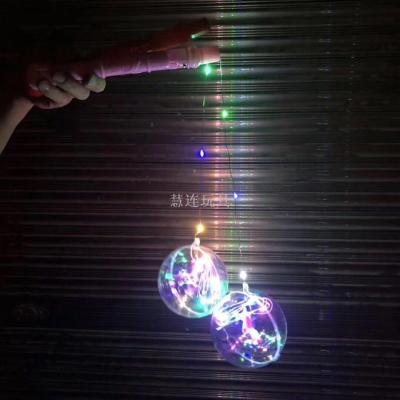 Novelty toy handle flash ball LED portable wave ball light lantern copper wire light night market hot style