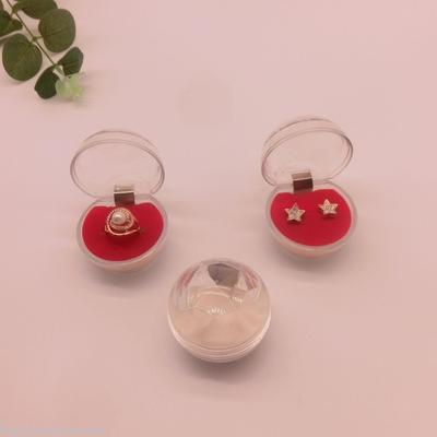 Crystal ball ring box 5.1*4.6*5CM transparent earring box dustproof sleeve button box