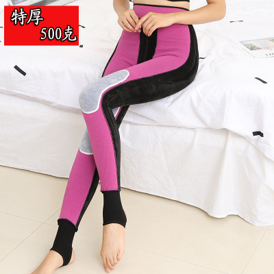 500g  winter fleece thickened leggings women's large size waist and knee protector on foot pants integrated pants