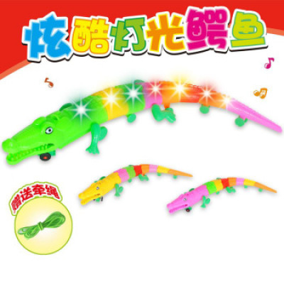 New electric crocodile music luminous wanxiang crawling toy animal model children's toys wholesale street stalls hot