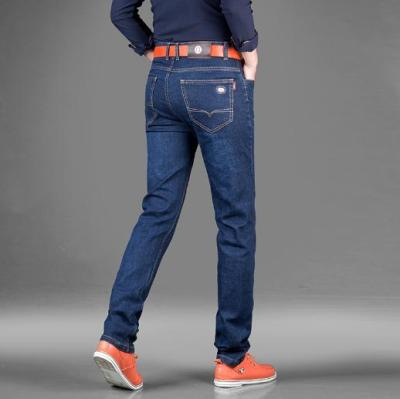 Bochun thick material men's business jeans stretch straight leg jeans trousers