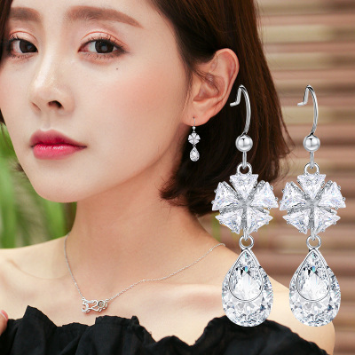 Flower drop red temperament is medium long paragraph earring is vogue and contracted argent ear is acted the role of ear of Japan and Korea ear pendant joker ear nail female
