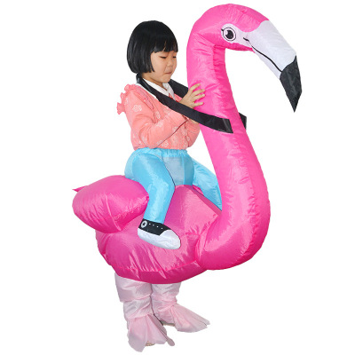 Halloween manufacturers direct performance of inflatable costumes play flamingo riding costumes