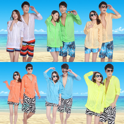 Good quality real couples sunscreen clothes men and women wear beach hoodie size summer ultra thin coat cardigan