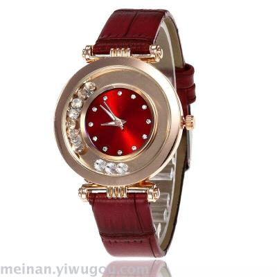 Hot style quicksand water drill leather ultra-thin lady web celebrity watch