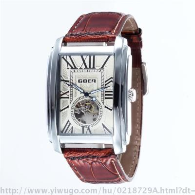 European and American leisure rectangular men hollow mechanical automatic watch