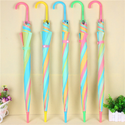 rainbow long-handle umbrellas with matching colors 8 bone rainbow umbrellas cheap booth umbrellas wholesale