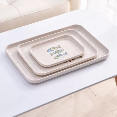 Wheat straw environmental protection square plate household plate dessert tray western food plate dish dish tableware