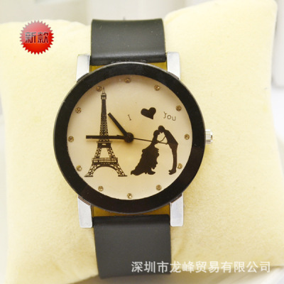 Fashion trend personality dial quartz couple belt love tower students men and women watch wholesale