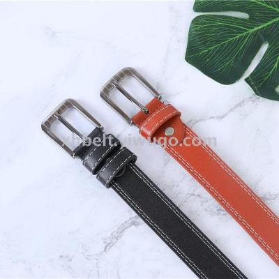 Hot-selling ladies retro leather leather belt women's new step on the double line buckle casual women's belt