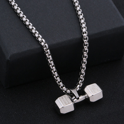 2019 European and American Fashion Fitness Dumbbell Necklace Korean Style Personality Couple Pendant Hipster Nightclub Ornament Factory Customization