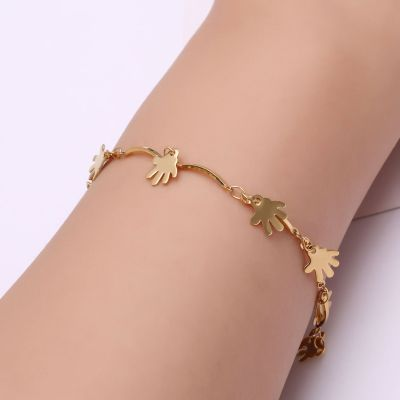 Ebay amazon girl bracelet fashion Korean version of gold palm sequins anklet personality joker chain wholesale