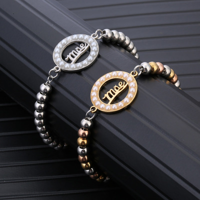 Fashion joker lady bracelet European and American creative letter hand string independent packaging pearl jewelry manufacturers spot