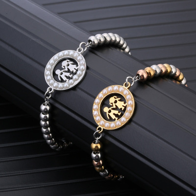Cross-border jewelry creative hollow lovers bracelet inlaid pearl beads chain amazon girls jewelry manufacturers wholesale