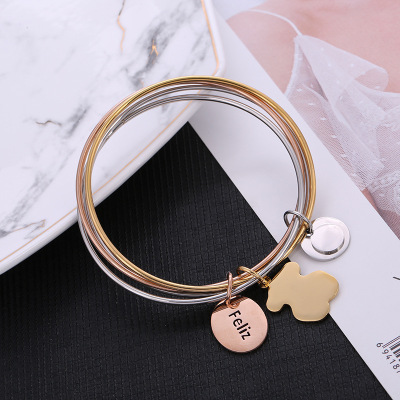 Creative fashion four - ring bracelet sweet little fresh girl accessories manufacturers customized wholesale cross - border student bracelets