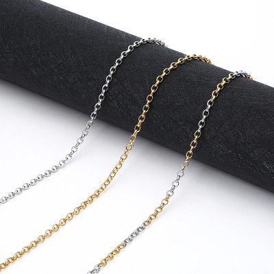 Manufacturers direct stainless steel plated gold round pearl necklace European and American fashion titanium steel jewelry chain wholesale