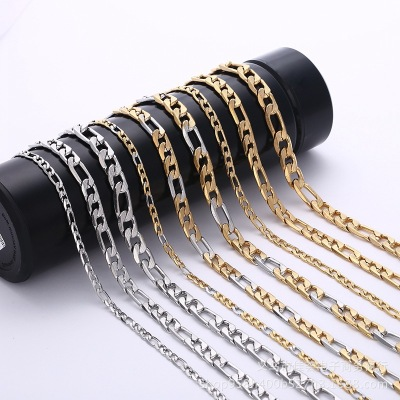 Creative Gold and Silver Color Boys Necklace Custom Wholesale Trend Fashion 3: 1nk 6dc Horizontal Pattern Stainless Steel Necklace