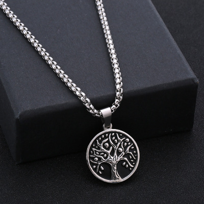 New round Coin Branch Necklace Creative Design Men's Stainless Steel Pendant Factory Custom Jewelry Wholesale