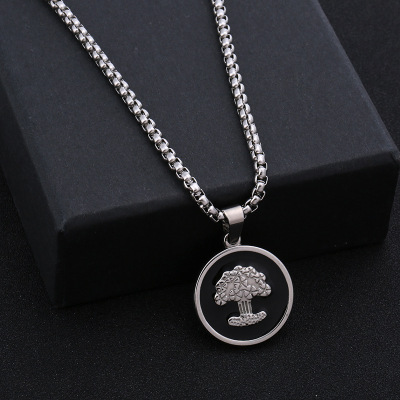 Wholesale Creative round Couple Necklace European and American Personalized Stainless Steel Sweater Chain Long Pendant Factory Customization