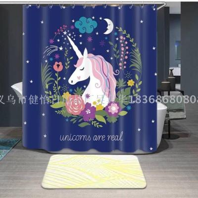 Unicorn shower curtain doll fabric can also be customized bath mat, tapestry, tablecloth, table mat