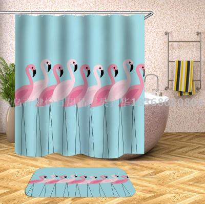 Flamingo shower curtain doll fabric can also be customized bath mat, tapestry, tablecloth, meal mat