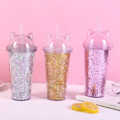 water botterCreative cat ear glitter flash cup with double sippy cup manufacturers wholesale cups