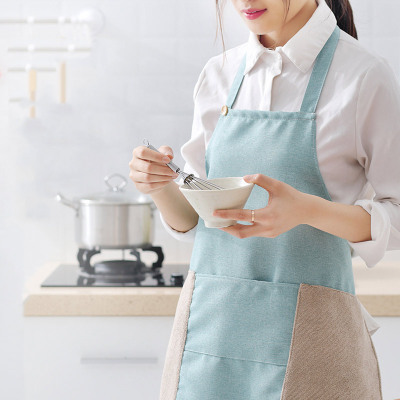 "Cotton and linen apron ""women can wipe hands multi - functional household kitchen work waterproof oil resistant dirty apron summer smock men"