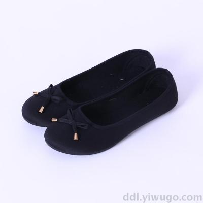 Spot bow cloth shoes black female slip-on shoes