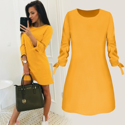 Spring, summer and autumn European and American pure color dress casual O collar dress