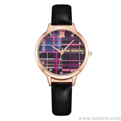 The new aliexpress ladies' fashion watch with a stylish colored check and diamond-encrusted watch band