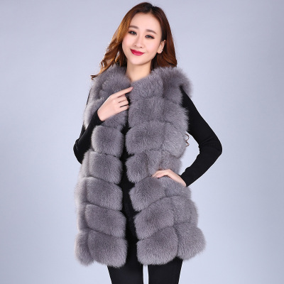 In the winter of 2017, the new style of ladies' fox fur whole skin rod-shaped piece fur vest is sold at hot style