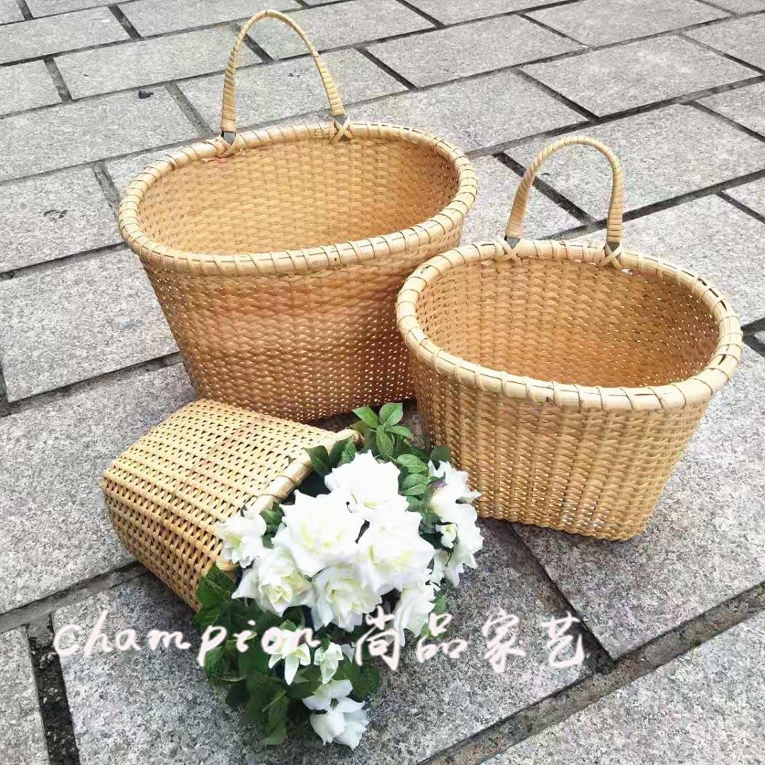 Supply Shangpin Handmade And Rattan Basket Basket Hemp Rope Basket Daily Storage Basket Sundry Basket Flower Arrangement Blue