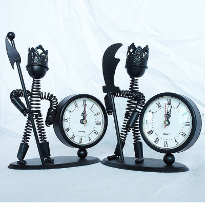 Creative samurai guardian iron man metal clock model home furnishing A115 series